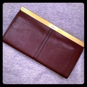 NWOT Fossil Accordion Clutch Wallet - Plum